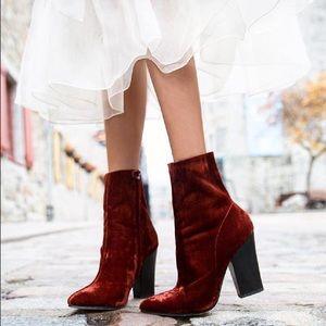Zara Red/Orange Velvet boots